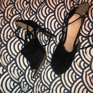 Aldo black suede lace up heels